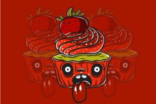 Print on Demand: Strawberry Cupcake Monster Character Graphic Illustrations By belangbiru