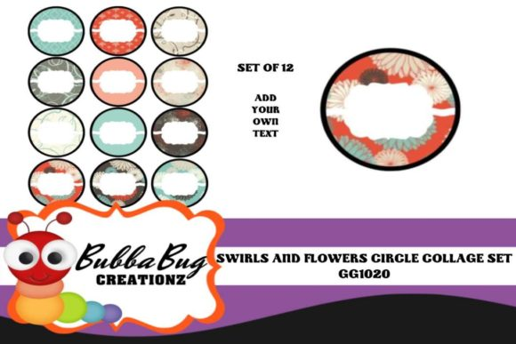 Swirls and Flowers Circle Collage Set Gráfico Crafts Por BUBBABUG