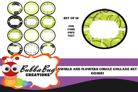 Swirls and Flowers Circle Collage Set Graphic Crafts By BUBBABUG