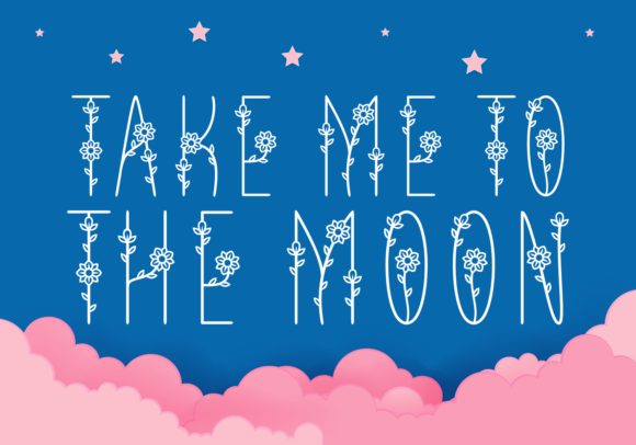 Print on Demand: Take Me to the Moon Decorative Font By Situjuh