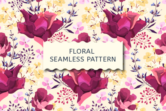 Vector Seamless Pattern. Garden Roses. Graphic Patterns By kazakova_o