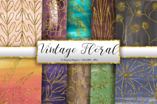 Print on Demand: Vintage Floral Gold Glitter Background Graphic Backgrounds By PinkPearly