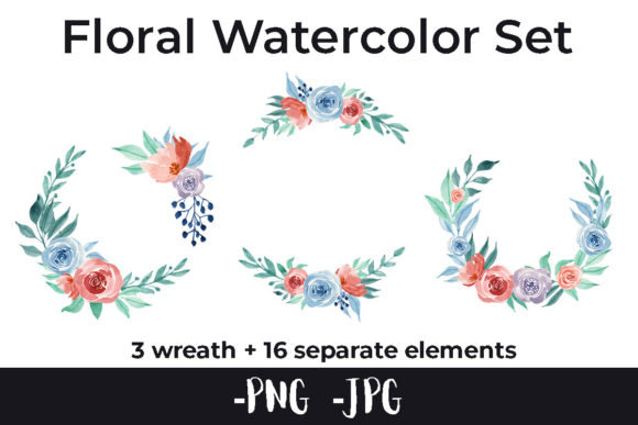 Print on Demand: Watercolor Flower Rose Wreath Set Graphic Crafts By AzrielMch