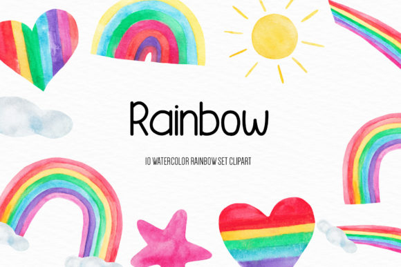 Watercolor Rainbow Illustration Graphic Illustrations By BonaDesigns