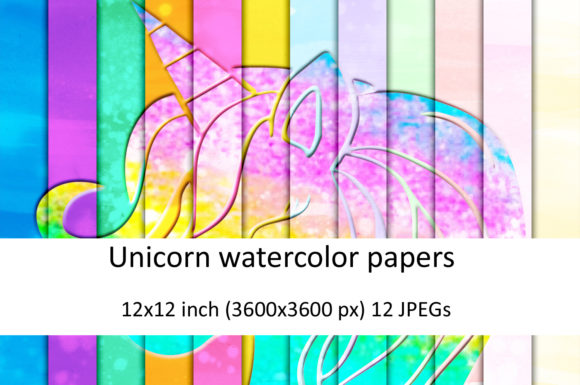Print on Demand: Watercolor Unicorn Digital Papers Gráfico Texturas Por Andrea Kostelic