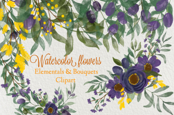 Print on Demand: Watercolor Flowers Clip Art Graphic Illustrations By Suda Digital Art