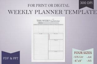 Print on Demand: Weekly Planner Page - Printable - 4 Size Graphic Print Templates By Digital Town