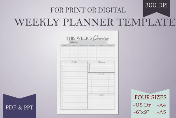 Print on Demand: Weekly Planner Page - Printable - 4 Size Grafik Druck-Templates von Digital Town