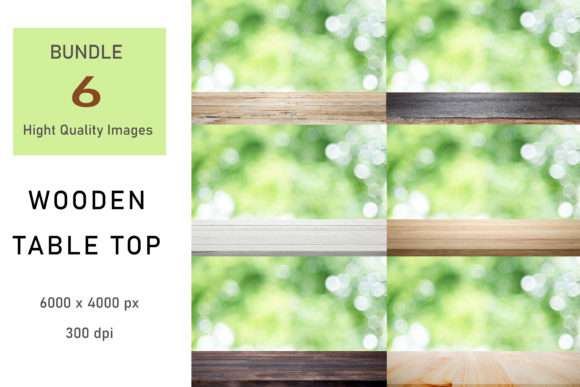 Print on Demand: Wooden Table Top Digital Backdrop Graphic Backgrounds By iJMockupStudio