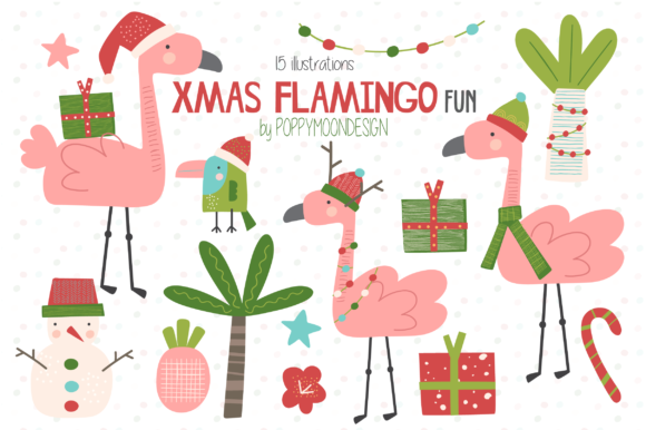 Print on Demand: Xmas Flamingos Fun Clipart Graphic Illustrations By poppymoondesign