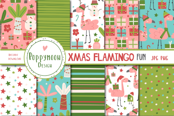 Print on Demand: Xmas Flamingos Fun Paper Graphic Patterns By poppymoondesign