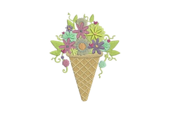free Ice Cream Cone with Flowers Embroidery Design