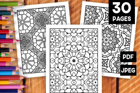 Print on Demand: 30 Geometric Adult Coloring Set Graphic Coloring Pages & Books Adults By JM_Graphics - Image 1