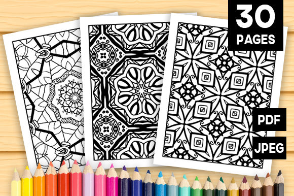 Print on Demand: 30 Lovely Geometric Coloring Set Graphic Coloring Pages & Books Adults By JM_Graphics - Image 1