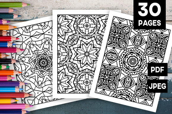 Print on Demand: 30 Relaxing Abstract Coloring Set Graphic Coloring Pages & Books Adults By JM_Graphics