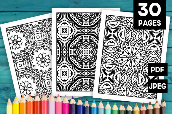 Print on Demand: Abstract Adult Coloring Pages Set Graphic Coloring Pages & Books Adults By JM_Graphics