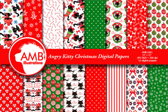 Angry Cats Christmas Papers Graphic Patterns By AMBillustrations