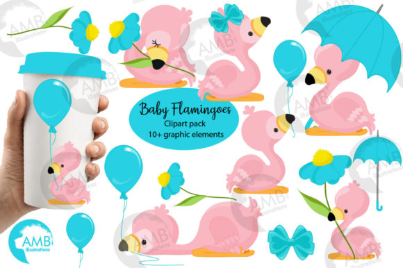 Baby Summer Flamingos Clipart 2632 Graphic Illustrations By AMBillustrations