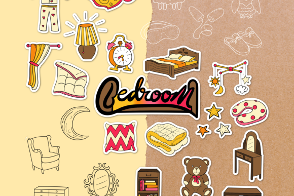 Bedroom Doodle Clipart Pack - 4 Styles Graphic Objects By WADLEN