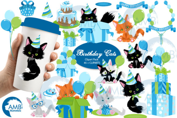 Birthday Boy Cat Clipart 2674 Graphic Illustrations By AMBillustrations