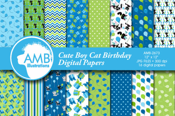 Birthday Boy Cat Papers Graphic Patterns By AMBillustrations