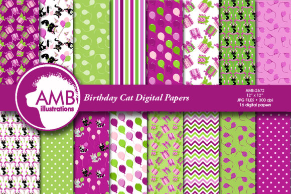 Birthday Cat Papers Graphic Patterns By AMBillustrations