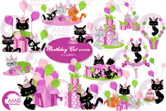 Birthday Cats Scenes Clipart 2671 Grafik Illustrationen von AMBillustrations