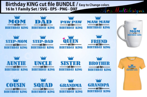 Print on Demand: Birthday King Cut File Bundle Graphic Crafts By Arcs Multidesigns