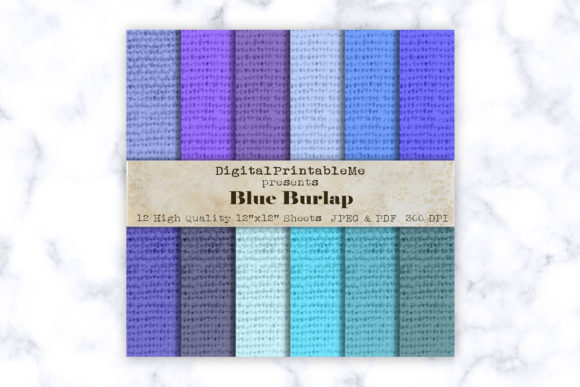 Print on Demand: Blue Burlap Digital Paper Scrapbook Graphic Backgrounds By DigitalPrintableMe
