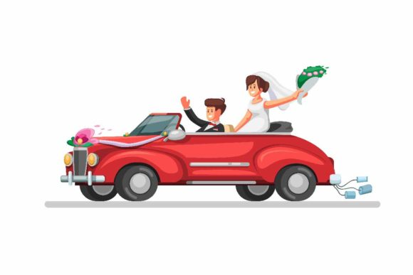 Print on Demand: Bride on Retro Car Just Married Vector Graphic Illustrations By aryo.hadi