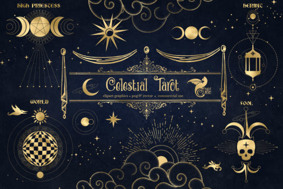 Print on Demand: Celestial Tarot Illustrations Grafik Illustrationen von Digital Curio