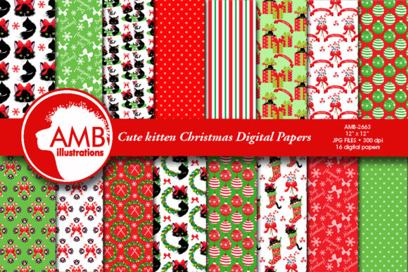 Christmas Cats Papers Graphic Patterns By AMBillustrations