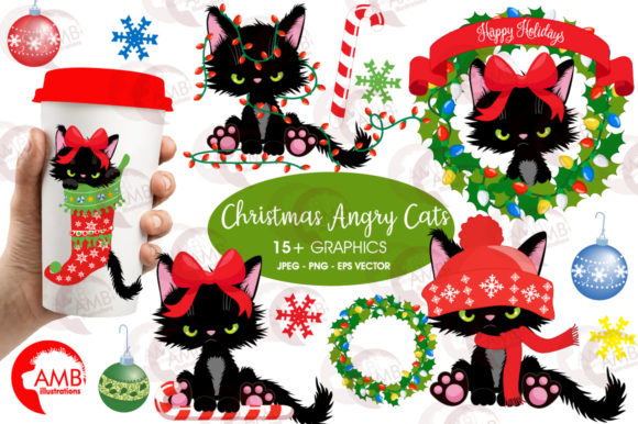 Christmas Kittens Clipart 2660 Graphic Illustrations By AMBillustrations
