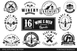 Print on Demand: Craft Beer and Winery Badge Label Retro Graphic Logos By blueberry 99d