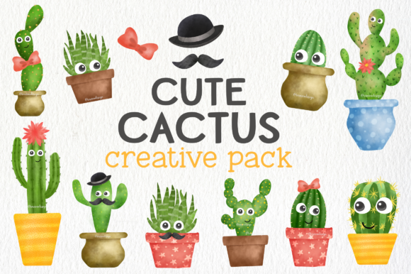 Print on Demand: Cute Watercolor Cactus Creative Pack Graphic Illustrations By vivera