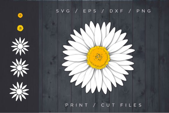 Daisy Flower Layered Cut File Gráfico SVG en 3D Por 2dooart