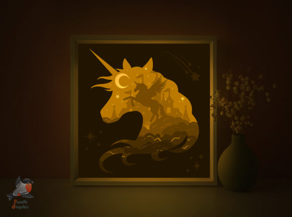 Fairytale Unicorn Lightbox Template Graphic 3D Shadow Box By SweetieGraphics