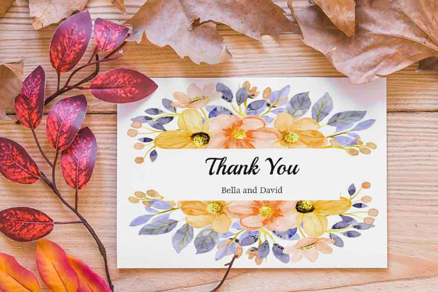 floral thank you card thanks printable graphic