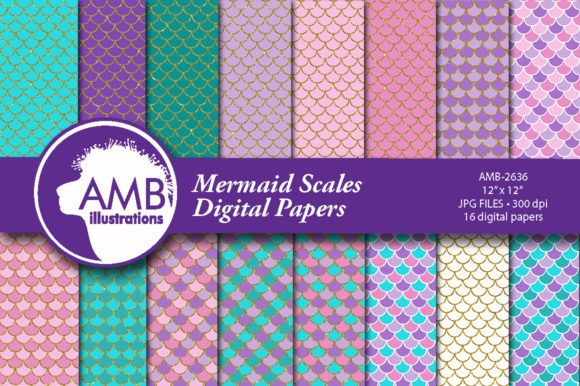 Golden Mermaid Scales Papers Gráfico Moldes Por AMBillustrations