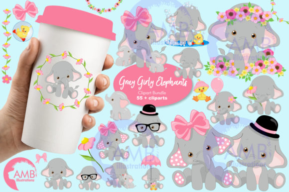 Gray Elephants Clipart 2676 Graphic Illustrations By AMBillustrations - Image 1