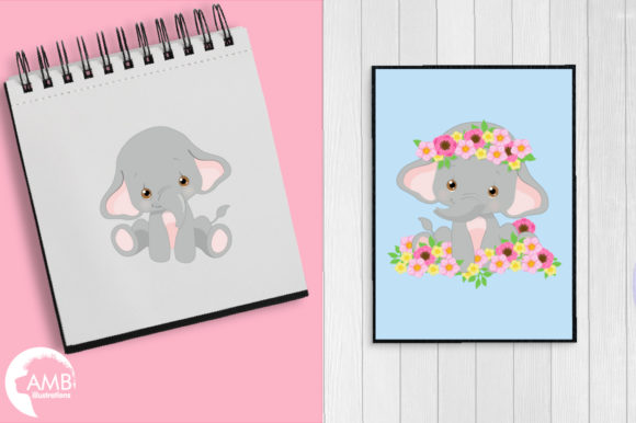 Gray Elephants Clipart 2676 Graphic Illustrations By AMBillustrations - Image 4