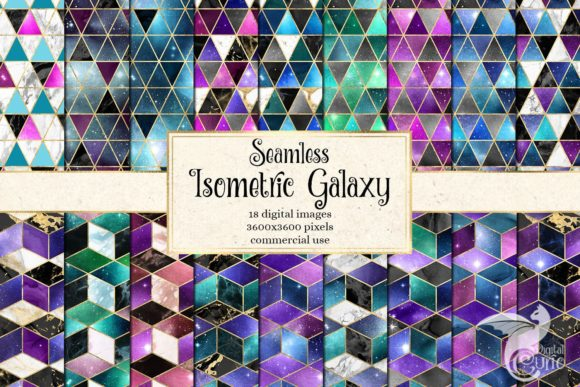 Print on Demand: Isometric Galaxy Digital Paper Grafik Texturen von Digital Curio