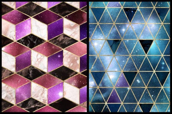 Print on Demand: Isometric Galaxy Digital Paper Graphic Textures By Digital Curio - Image 2