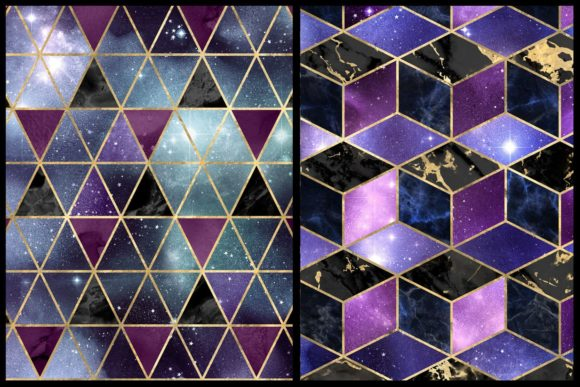 Print on Demand: Isometric Galaxy Digital Paper Graphic Textures By Digital Curio - Image 3