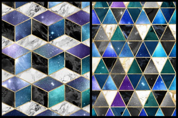 Print on Demand: Isometric Galaxy Digital Paper Graphic Textures By Digital Curio - Image 4