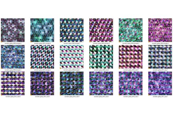 Print on Demand: Isometric Galaxy Digital Paper Graphic Textures By Digital Curio - Image 5