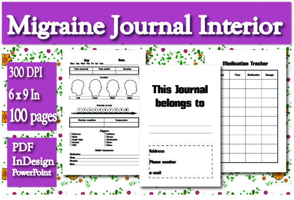 Print on Demand: KDP Migraine Journal Interior Graphic KDP Interiors By Ivana Prue - Image 1