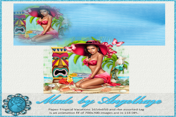 Print on Demand: Paper and Animated Tag Tropical Vacation Graphic Graphic Templates By Digiscrap Angelhaze