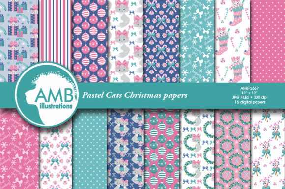 Pastel Christmas Cats Papers Graphic Patterns By AMBillustrations