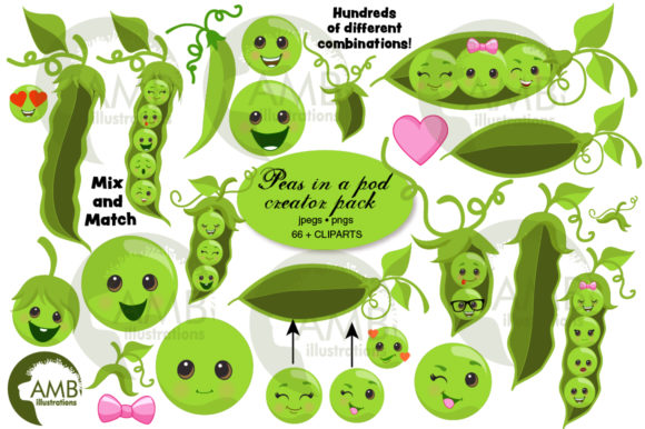 Peas in a Pod Clipart 2767 Graphic Illustrations By AMBillustrations
